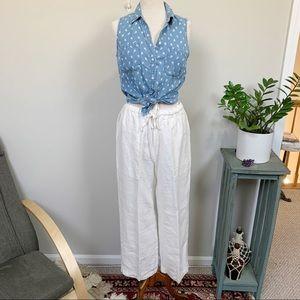 Eskandar White Linen High Waist Straight Leg Pants